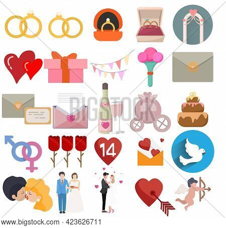Love Vector Clip Art Set With Wedding Icons, Love Doves, Love Couple, Love Message
