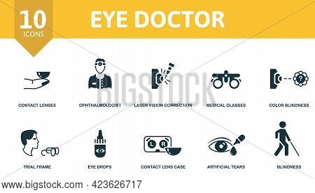 Eye Doctor Icon Set. Contains Editable Icons Ophthalmology Theme Such As Contact Lenses, Laser Visio