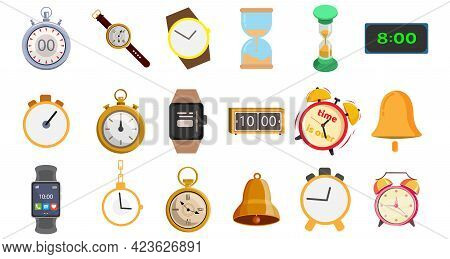 Clock Vector Clip Art Set With Watch, Smart Watch, Sandglass, Electronic Clock, Alarm Clock
