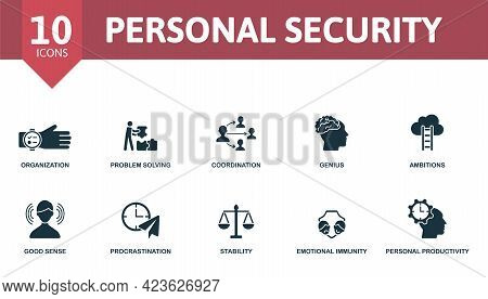 Personal Security Icon Set. Contains Editable Icons Personal Protection Theme Such As Ear Plugs, Fir