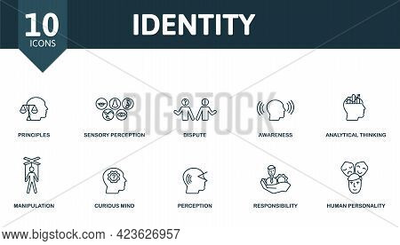 Identity Icon Set. Contains Editable Icons Personality Theme Such As Principles, Dispute, Analytical
