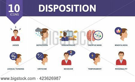 Disposition Icon Set. Contains Editable Icons Personality Theme Such As Anger, Hardworking, Mindfuln