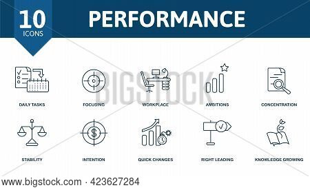 Performance Icon Set. Contains Editable Icons Productivity Theme Such As Daily Tasks, Workplace, Con