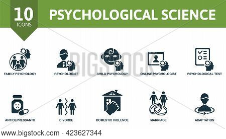Psychological Science Icon Set. Contains Editable Icons Psychology Theme Such As Family Psychololy,