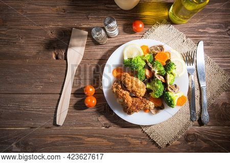 Healthy Food Made Of Broccoli, Mushroom And Carrot