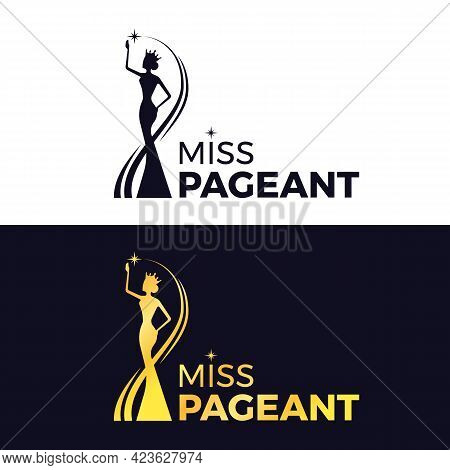 Miss Pageant Logo - Black And Gold The Beauty Queen Pageant Wearing A Crown And Reaching For The Sta