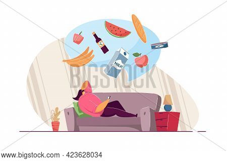 Girl Lying On Sofa And Ordering Food Through Mobile App. Bubble With Milk, Bananas, Apple, Watermelo