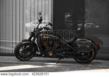 Kiev, Ukraine - May 22, 2021: Indian Motorcycle. Black Matte Motorcycle Indian Parked In The City