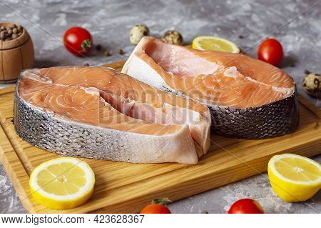 Red Fish Salmon Salmon Trout Raw Steak Cooking