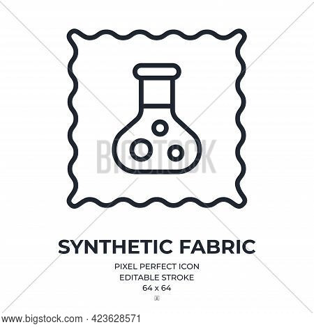 Synthetic Fabric Editable Stroke Outline Icon Isolated On White Background Flat Vector Illustration.