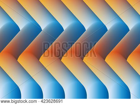 Abstract Background From Voluminous Curved Shapes Using Yellow-red-blue Gradient.3d.