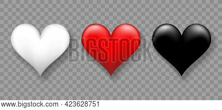 Hearts 3d Decoration Signs. Vector Red White Black Heart Shapes For Love Illustration And Romantic I