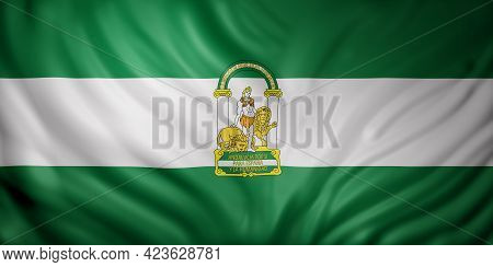 3d Rendering Of A Andalucia Spanish Community Flag