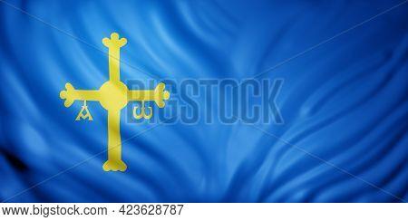 3d Rendering Of A Asturias Spanish Community Flag