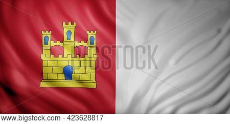 3d Rendering Of A Castilla La Mancha Spanish Community Flag