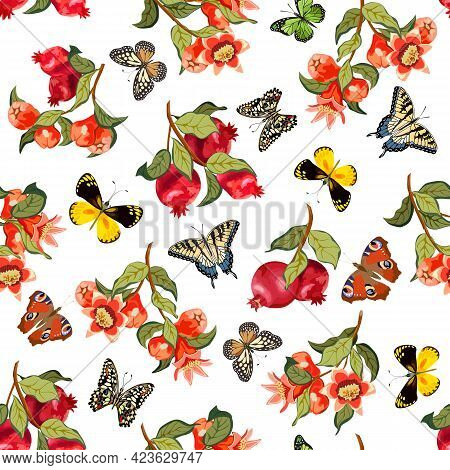 Pattern With Pomegranates And Butterflies.branches With Pomegranates And Butterflies On A White Back