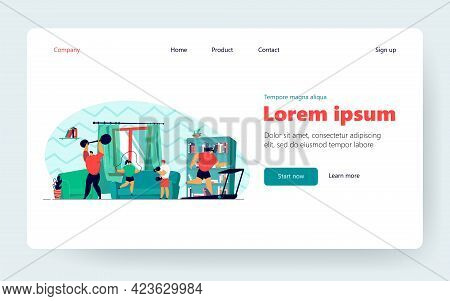 Family Couple And Two Children Doing Sport Exercises At Home, Training Body, Lifting Weight, Jumping