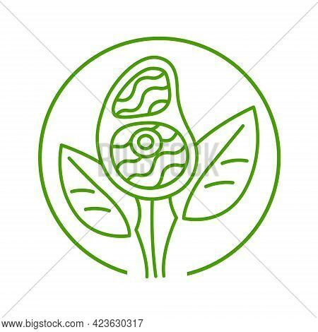 Plant Based Meat Sign Concept, Green Line. Vegan Product. Steak Grows From Plant Leaves. Round Vecto