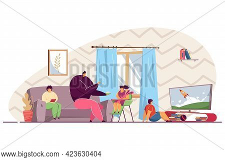Family Spending Time Together At Home. Father Giving Food To His Baby Girl, Son Watching Tv, Mother