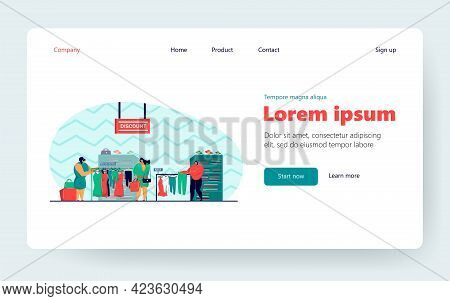 Pensive Women Choosing Clothes In Shop Flat Vector Illustration. Cartoon Female Consumers Buying Mod