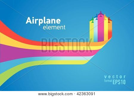 airplane colored background takeoff