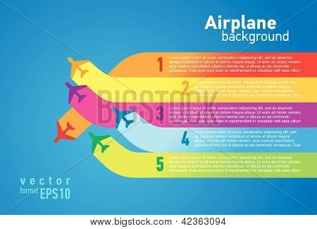 airplane colored background takeoff list element vector poster
