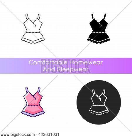 Lace Pyjamas Icon. Elegant Nightgown For Ladies. Trendy Sleepwear For Women. Comfortable Homewear An