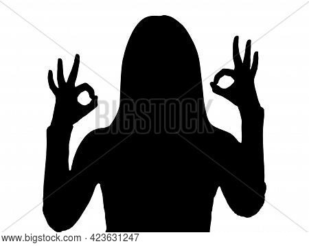 Silhouette Of Woman Showing Okay Gesture. I\'m Fine. Are You Okay Consent Sign And Signal That Every
