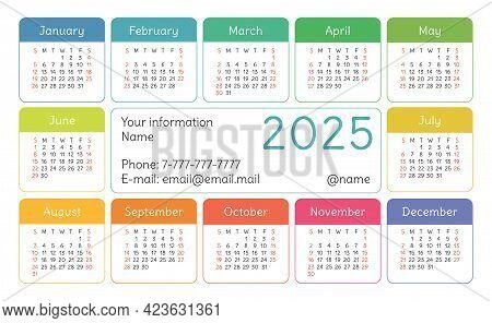 Calendar 2025 Year. English Colorful Vector Horizontal Wall Or Pocket Calender Design Template. New