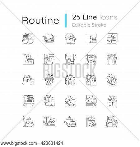 Everyday Routine Linear Icons Set. Alarm Clock. Coffee Break. Tranposrt For Transit To Work, School.