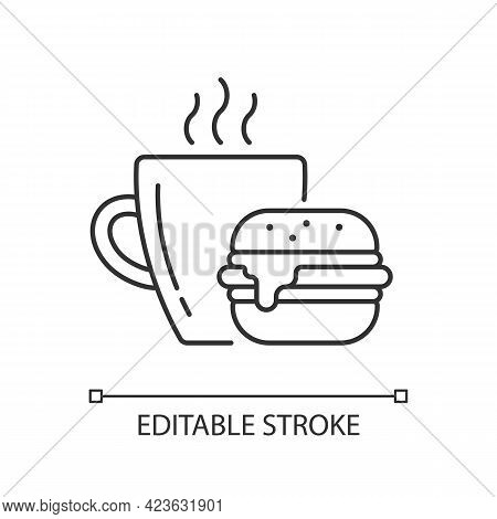 Lunch Linear Icon. Burger And Drink In Cup. Coffee Mug With Sandwich For Dinner. Thin Line Customiza