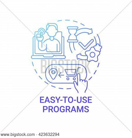 Easy-to-use Programs Concept Icon. Online Marketplace Benefit Abstract Idea Thin Line Illustration.