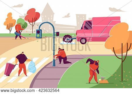People Cleaning Up Trash On City Streets. Sprinkler-sweeper-collector Washing Road, Female Janitor S
