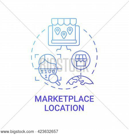 Marketplace Location Concept Icon. Ecommerce Site Country Abstract Idea Thin Line Illustration. Targ