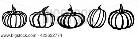 Pumpkin Set. Black And White Illustration In The Form Of A Logo Or Sign. Silhouette For Cutting On A