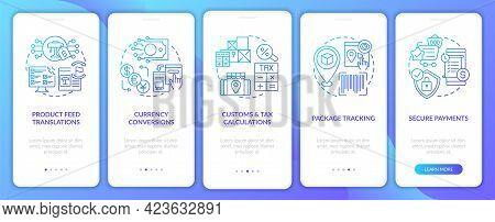 Worldwide E-marketplace Service Onboarding Mobile App Page Screen. Secure Payments Walkthrough 5 Ste