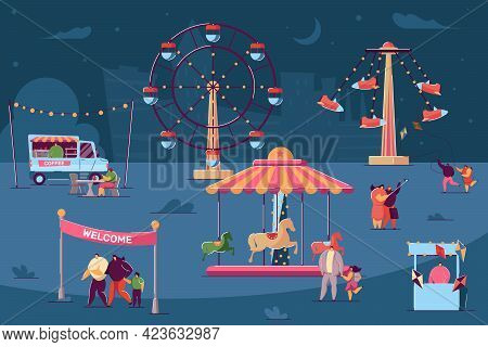 Tiny Characters Walking In Fun Fair At Night. Salesmen Selling Food And Products In Stalls And Booth