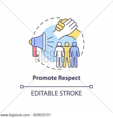 Promote Respect Concept Icon. Fighting Racism Abstract Idea Thin Line Illustration. Racial Equity Pr