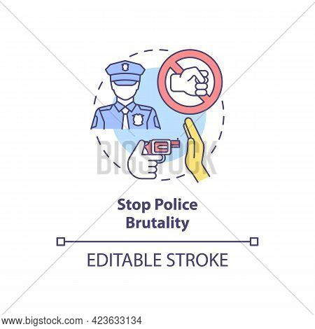 Stop Police Brutality Concept Icon. Fighting Racism Abstract Idea Thin Line Illustration. Advancing