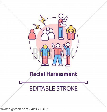 Racial Harassment Concept Icon. Racism In Social Situation Abstract Idea Thin Line Illustration. Rac