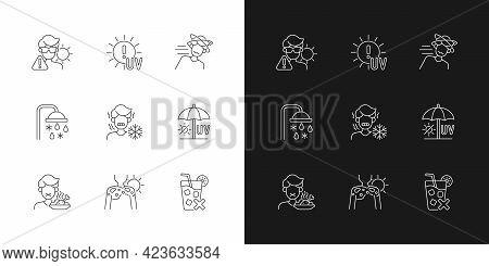 Heatstroke Risk During Summer Linear Icons Set For Dark And Light Mode. Sunburn On Skin. Avoid Sunli