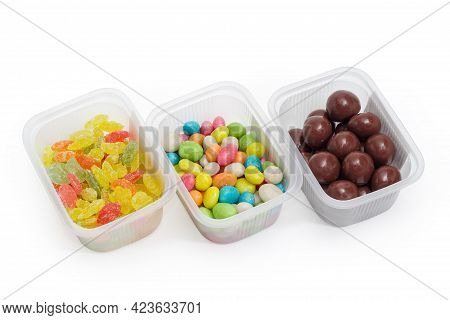 Malted Milk Balls Covered Chocolate, Varicolored Sugar Candies And Candies Made Of The Sugar Glazed