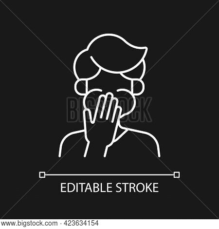 Nausea White Linear Icon For Dark Theme. Sick Person Covering Mouth. Heat Exhaustion Symptom. Thin L