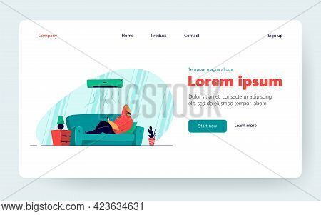 Lazy Guy Lying On Sofa Under Air Conditioner Isolated Flat Vector Illustration. Cartoon Man Relaxing