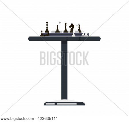 Chess On Chessboard Vector Illustration. Accessories, Table For Chess Players. Board Logic Game For