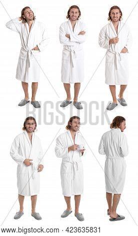 Man Wearing Bathrobe On White Background, Collage