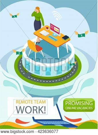 Remote Team Work. Promising Online Vacancies Employment Agency Promotion Banner For Remote Work, Bus