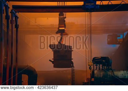 Metallurgical Production Factory, Foundry Workshop Interior, Ladle With Molten Metal Moving On Crane