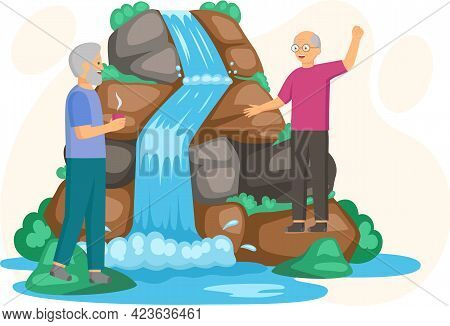 Elderly Men Stand Next To Rock And Waterfall. Clean Nature Concept, Tropical River And Beautiful Wat