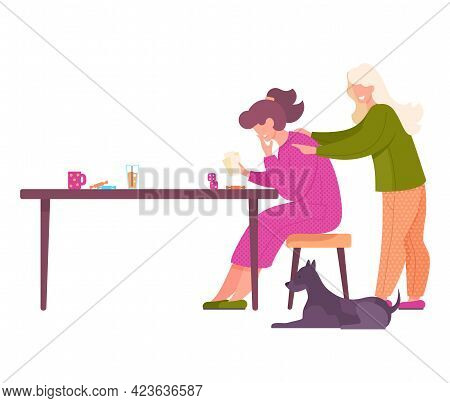 Friends Female Characters Playing Cards Sitting At Table, People Having Good Time Together Vector Il